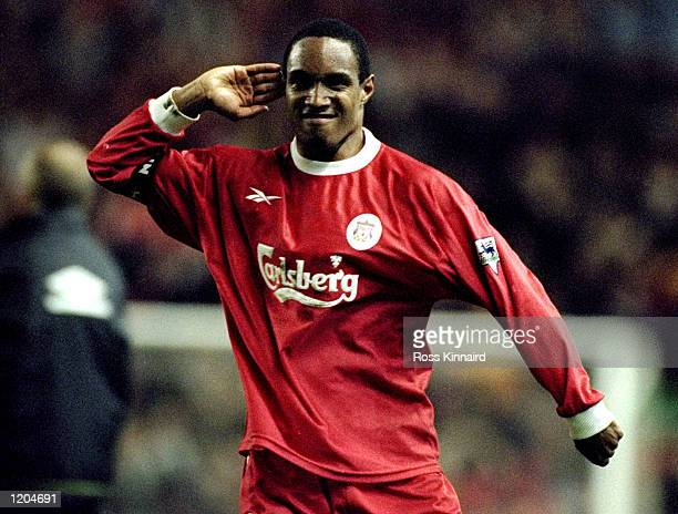 Paul Ince of Liverpool gestures toward the crowd after his goal during the FA Carling Premiership match against Manchester United played at Anfield...