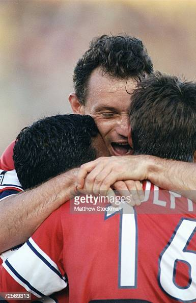 Peter Nowak of the Chicago Fire celebrates with teammates during the game against the Kansas City Wizards at the Soldier Field in Chicago Illinois...
