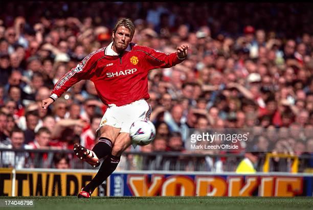 01 May 1999 Premiership football Manchester United v Aston Villa David Beckham crosses the ball for United