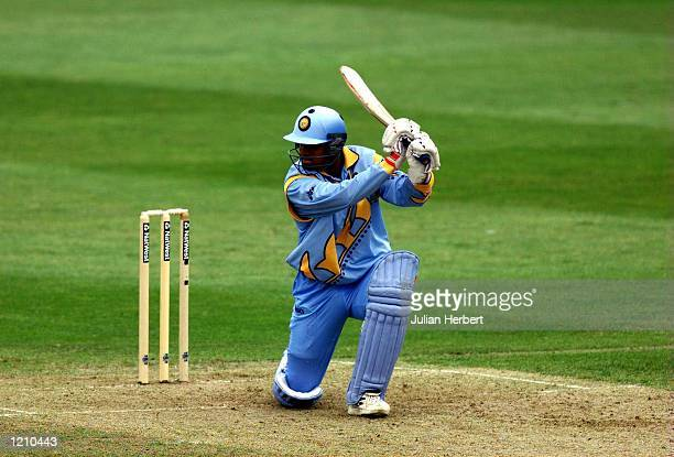 Rahul Dravid of India hits out against Sri Lanka during his innings in the Cricket World Cup Match between India and Sri Lanka played at Taunton...