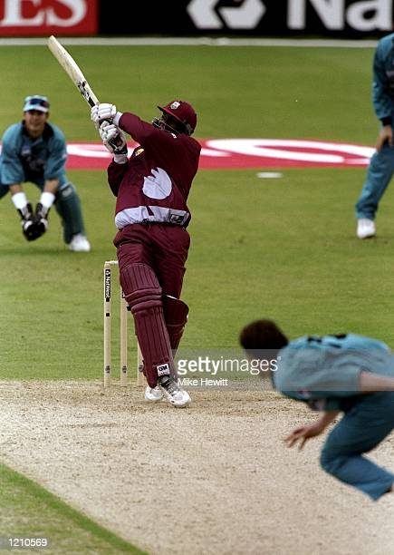 Ricley Jacobs of the West Indies bats during the Cricket World Cup Group B match against New Zealand played in Southampton England The West Indies...
