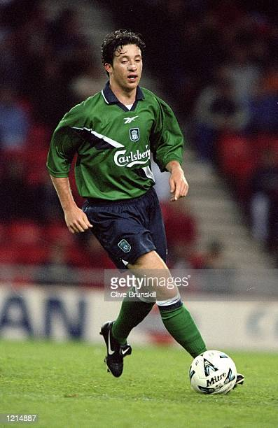 Robbie Fowler of Liverpool in action during the 100th League Championship Challenge match against Sunderland played at the Stadium of Light in...