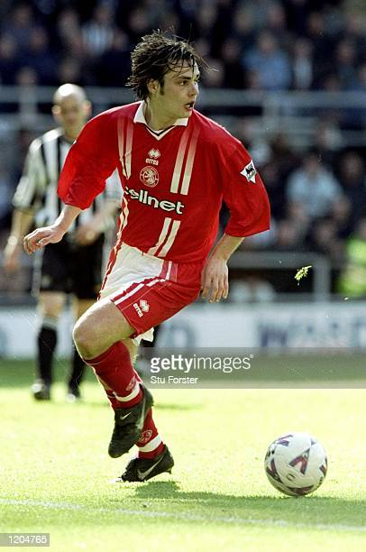 Robbie Stockdale of Middlesbrough in action during the FA Carling Premiership match against Newcastle played at St James's Park in Newcastle England...