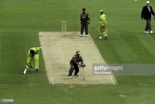 Saqlain Mushtaq of Pakistan is run out and Bangladesh win the Cricket World Cup Group B match played in Northampton, England. Bangladesh won the game...