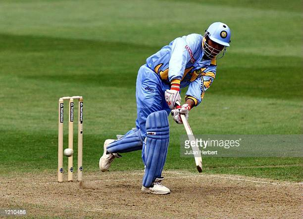 Saurav Ganguly of India hits out against the bowling of Sri Lanka during the two teams Cricket World Cup Match played in Taunton Mandatory Credit...