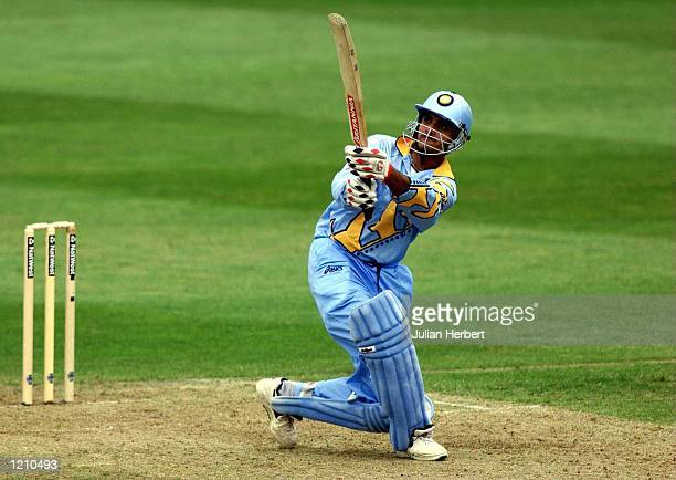 Saurav Ganguly of India hits out against the bowling of Sri Lanka during the India v Sri Lanka Cricket World Cup match played in Taunton Somerset...