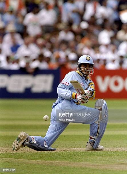 Saurav Ganguly of India on his way to 183 in the World Cup Group A game against Sri Lanka at Taunton in England. India won by 157 runs. \ Mandatory...