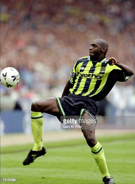 Shaun Goater of Manchester City in action during the Nationwide Division Two Play-Off Final match against Gillingham played at Wembley Stadium in...