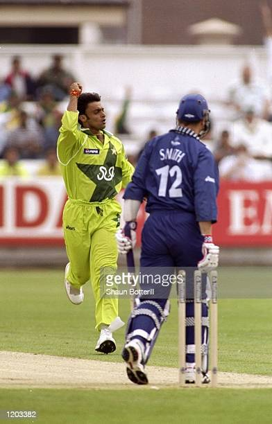 Shoaib Akhtar of Pakistan takes the wicket of Mike Smith of Scotland during the Cricket World Cup Group B match played at the Riverside Stadium in...
