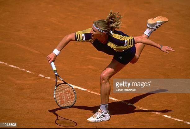 Steffi Graf of Germany serves during the French Open at Roland Garros in Paris France Mandatory Credit Clive Brunskill /Allsport