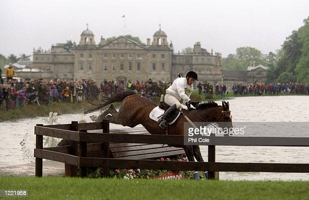 Stuart Tinney of Australia riding Tex begins to go out of control after the jump during the Mitsubishi Motors Badminton Horse Trials held in...