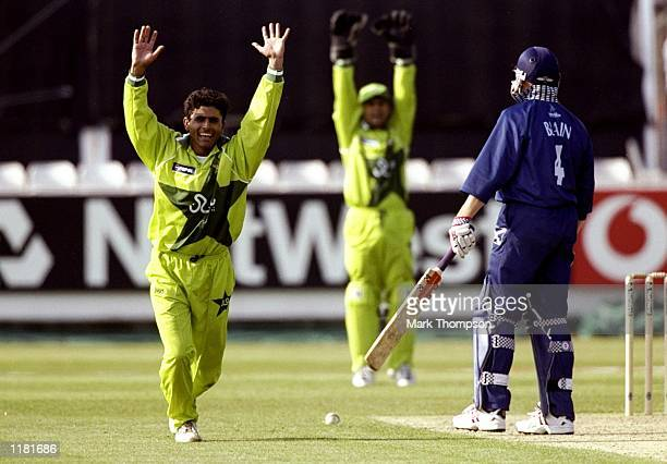 The Pakistan players celebrates the wicket John Blain of Scotland during the Cricket World Cup Group B match played at the Riverside Stadium in...