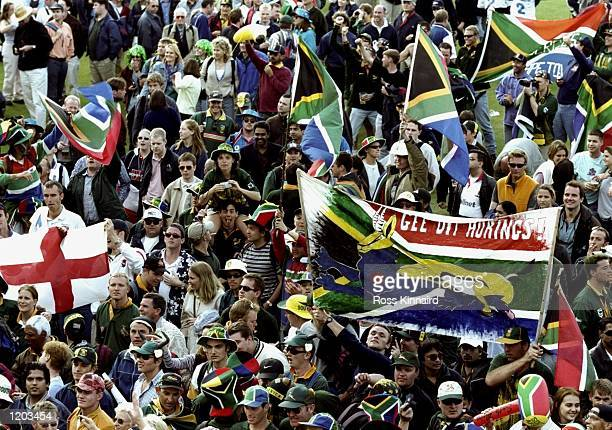 The South African fans celebrate after South Africa beat England in the Cricket World Cup Group A match played at The Oval in London England South...