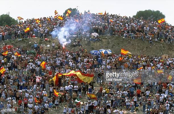The Spanish crowd watch the FIM Spanish Grand Prix Motorbike World Championships held in Jerez Spain Mandatory Credit Mike Hewitt /Allsport