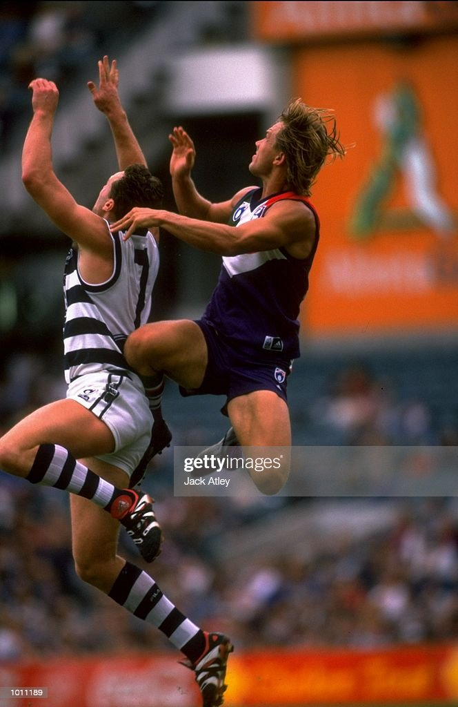 Tony Modra of Fremantle challenges Ben Graham of Geelong during the Round 7 AFL Football match played at the Subiaco Oval in Perth, Australia. \ Mandatory Credit: Jack Atley /Allsport