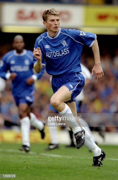 Tore Andre Flo of Chelsea in action during the FA Carling Premiership match against Derby County played at Stamford Bridge in London England The...
