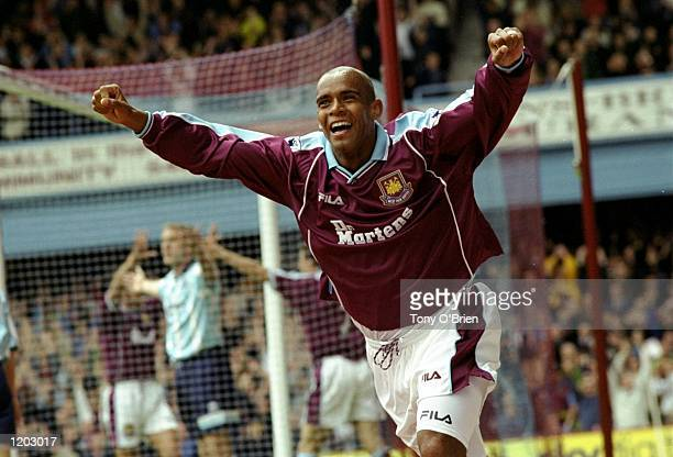 Trevor Sinclair of West Ham celebrates his goal during the FA Carling Premiership match against Middlesbrough played at Upton Park in London England...
