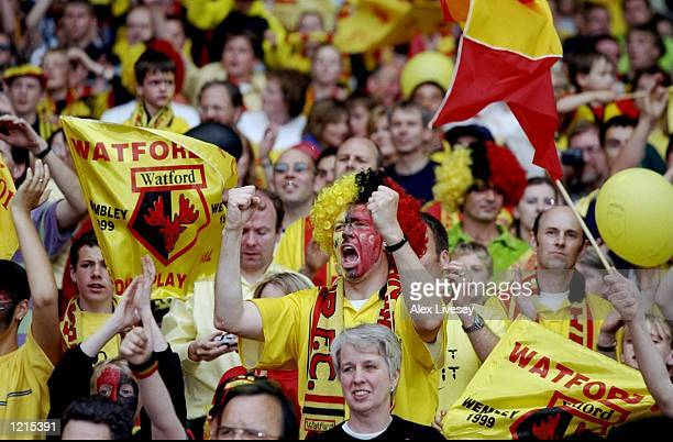 Watford fans celebrate victory and promotion during the Nationwide Division One PlayOff Final match against Bolton Wanderers played at Wembley...