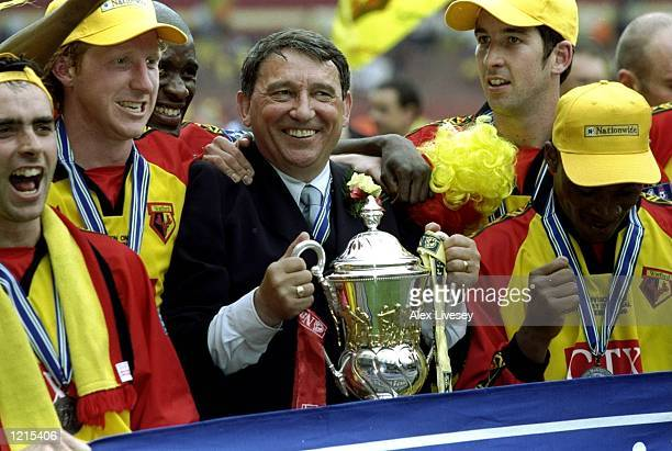 Watford players and manager Graham Taylor celebrate victory and promotion during the Nationwide Division One Play-Off Final match against Bolton...