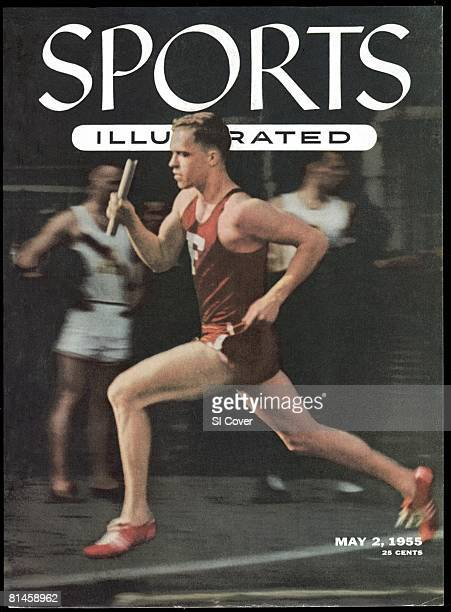May 2, 1955 Sports Illustrated via Getty Images Cover, Track & Field: Penn Relays, Fordham Tom Courtney in action during Two Mile Relay race at...