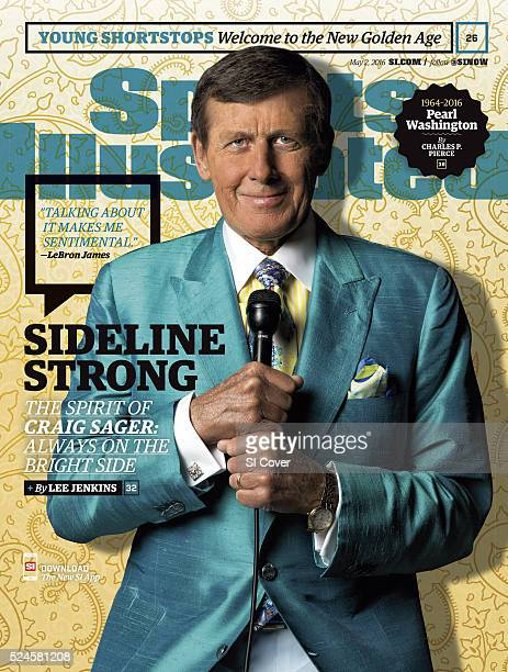 Basketball Portrait of TNT sideline reporter Craig Sager posing while holding microphone during photo shoot at Quicken Loans Arena Sager who recently...