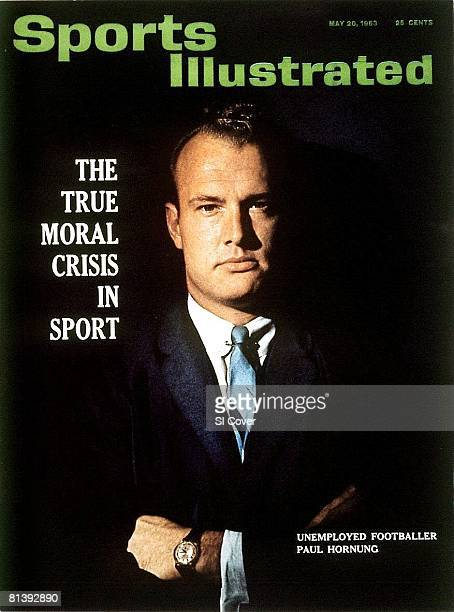 May 20 1963 Sports Illustrated via Getty Images Cover Football Closeup portrait of former Green Bay Packers player Paul Hornung serving oneyear...