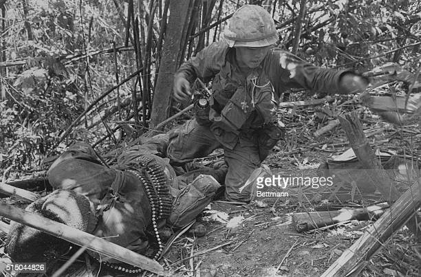 May 20 1969 A Shau Valley South Vietnam A Vietnamese rocket explodes directly behind a trooper of the 101st Airborne wounding him seriously during an...