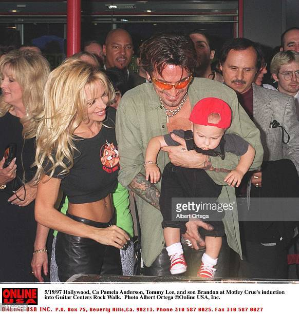 May 20 1997 Hollywood Pamela Anderson Lee Tommy Lee and son Brandon at Motley Crue's Walk Walk induction on Sunset Blvd