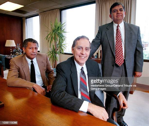 From left Carl Washington president of League of African American Voters Richard Bromley vice president of ATT for law and government and John Gamboa...