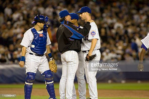 May 20 2007 New York NY USA JOHN MAINE PAUL LO DUCA pitching coach RICH PETERSON during the New York Yankees against New York Mets at Shea Stadium in...