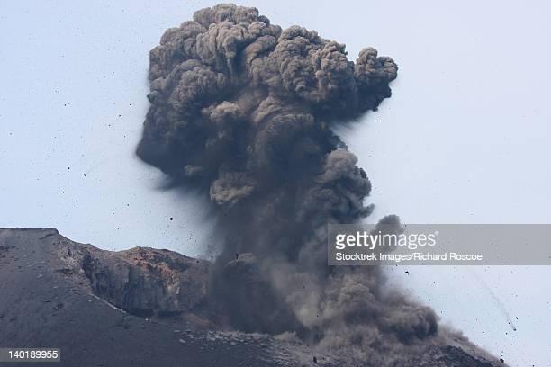 May 20, 2008 - Ash cloud with volcanic bombs from vulcanian eruption of Anak Krakatau volcano, Sunda Strait, Java, Indonesia.