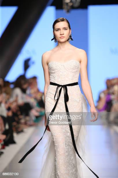 A model walks the runway during Designer Marchesa Bridal show at Arab Fashion Week Ready Couture Resort 2018 on May 20 2017 at Meydan in Dubai United...