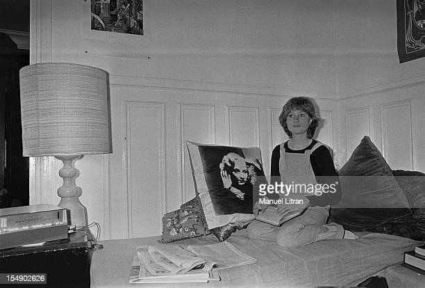 May 20 the actress Isabelle Huppert in his apartment during the film 'The Lacemaker' by Claude Goretta Isabelle Huppert sitting on her bed