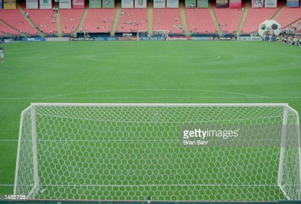 General view of a soccer goal at the Mile High Stadium before the game between the D.C. United and the Colorado Rapids in Denver, Colorado. The...