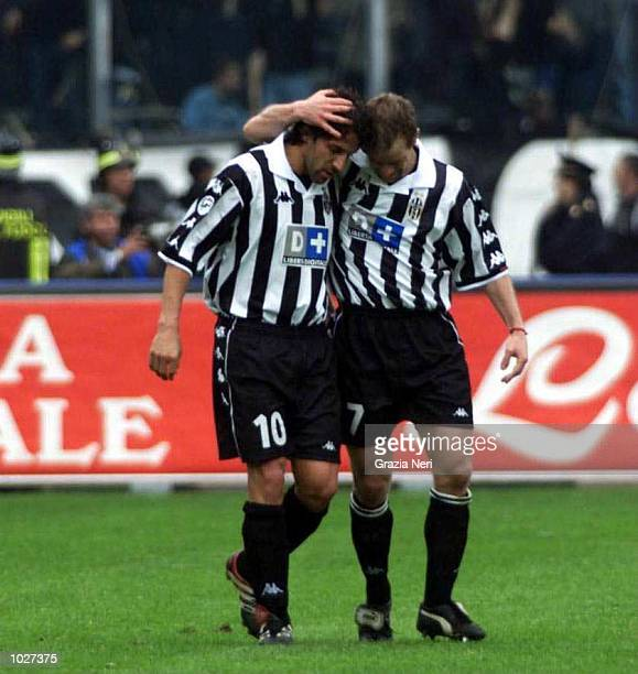 Alessandro Del Piero and Gianluca Pessotto of Juventus celebrate after Del Piero's goal during the Serie A match between Juventus and Parma at the...