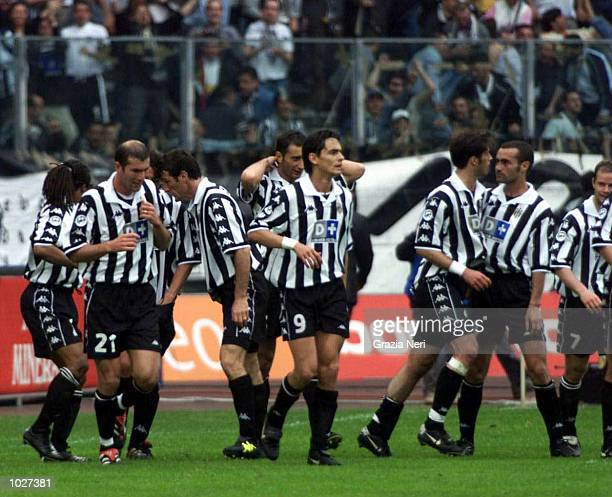 Alessandro Del Piero of Juventus is congratulated by his teammates after his goal during the Serie A match between Juventus and Parma at the Stadio...