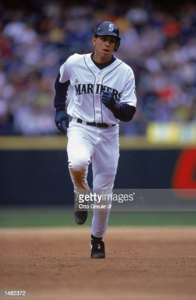 Alex Rodriguez of the Seattle Mariners running bases during a game against the Tampa Bay Devil Rays at the Safeco Field in Seattle Washington The...