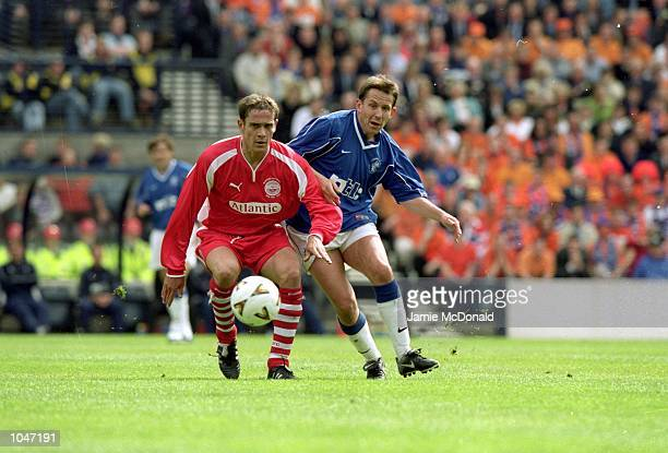 Billy Dodds of Rangers passes the ball during the Scottish Cup Final against Aberdeen at Hampden Park Scotland Rangers won 40 Mandatory Credit Jamie...