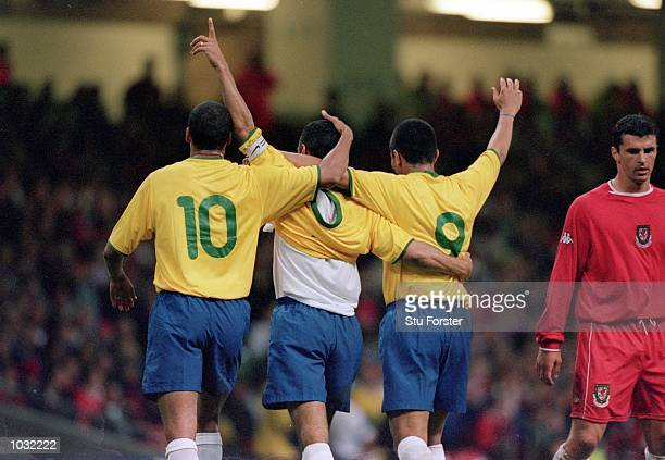 Brazil celebrate during the International Friendly match against Wales at the Millennium Stadium in Cardiff Wales Brazil won the match 30
