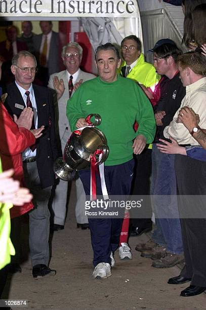 Brian Clough manger of the European Cup Winning Nottingham Forest team with the European Cup before the Mark Crossley Testimonial match between Mark...