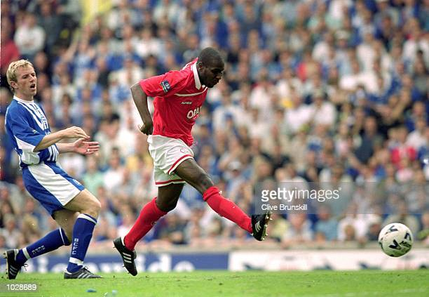 Bruce Dyer scores for Barnsley during the Nationwide division 1 Play Off Semi Final First Leg game against Birmingham at St Andrews in Birmingham,...