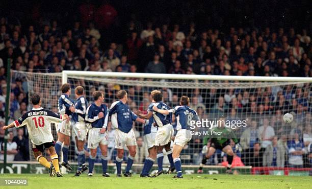 Dean Holdsworth of Bolton scores during the Nationwide Division 1 PlayOff Semi Final 2nd Leg against Ipswich at Portman Road Ipswich England Ipswich...