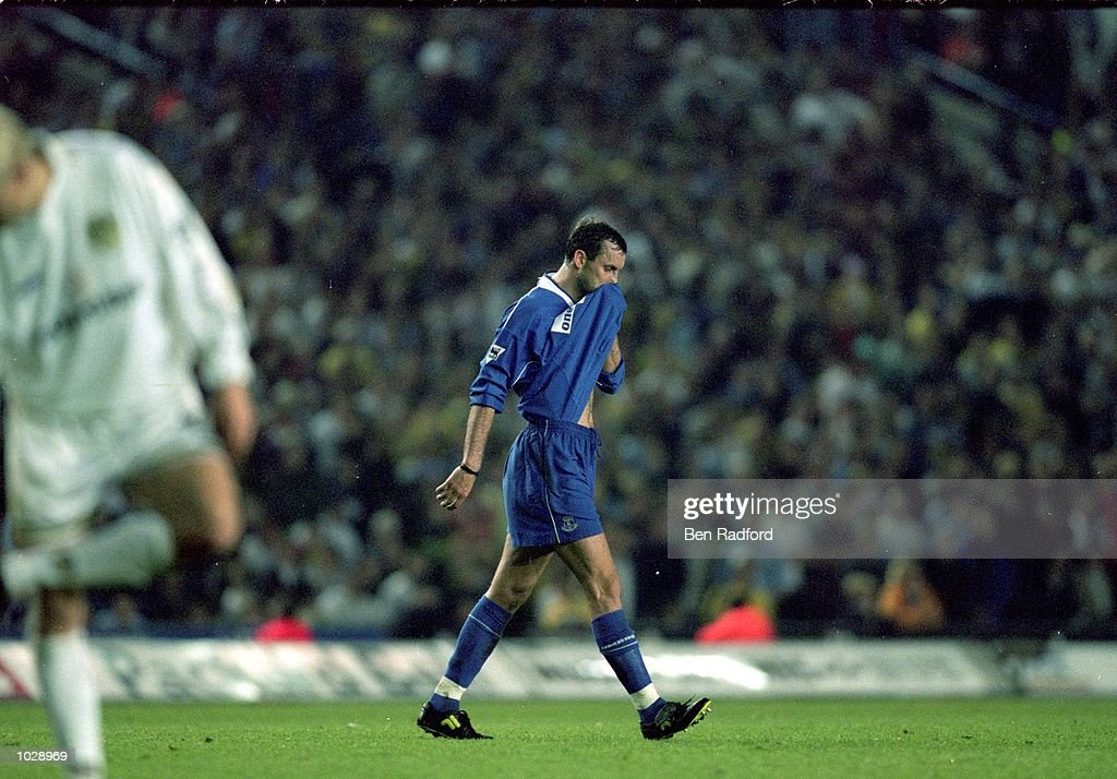 Don Hutchison of Everton is sent off during the FA Carling Premiership match against Leeds United at Elland Road in Leeds, England. The match was drawn 1-1. \ Mandatory Credit: Ben Radford /Allsport