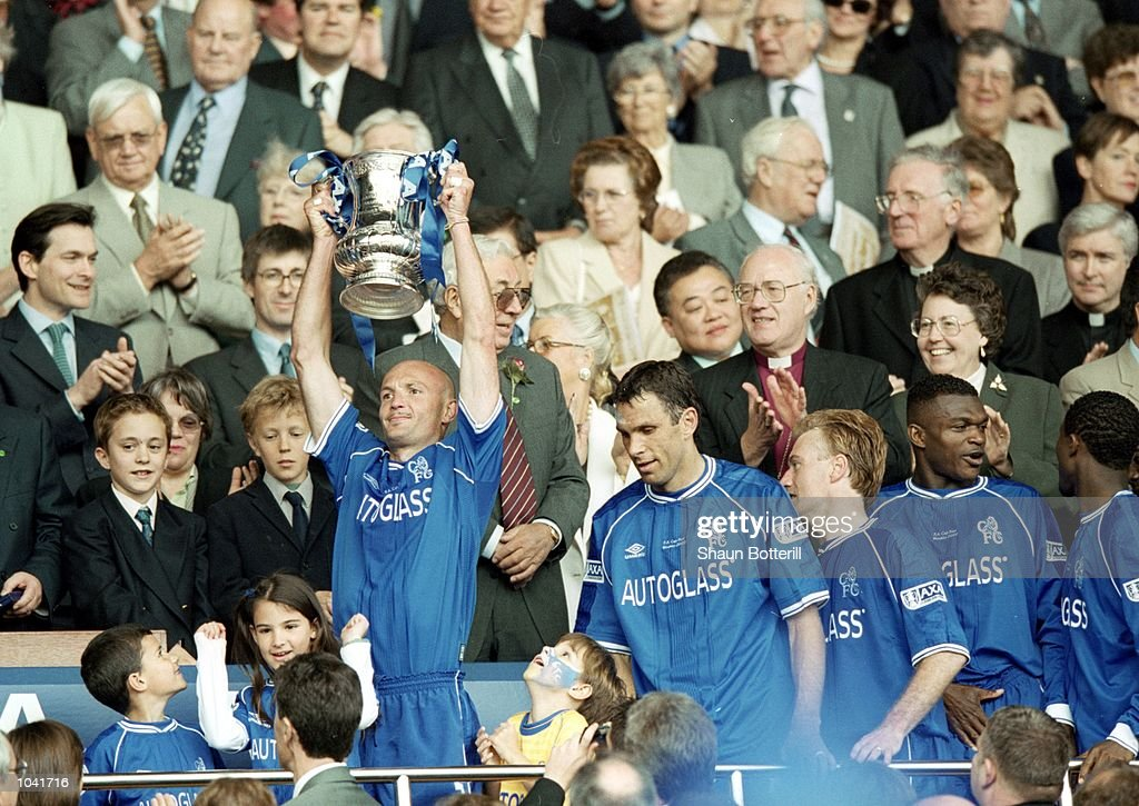 Frank Leboeuf of Chelsea holds the cup after the AXA FA Cup Final 2000 Match against Aston Villa at Wembley Stadium, London, England. Chelsea won 1-0. \ Mandatory Credit: Shaun Botterill /Allsport