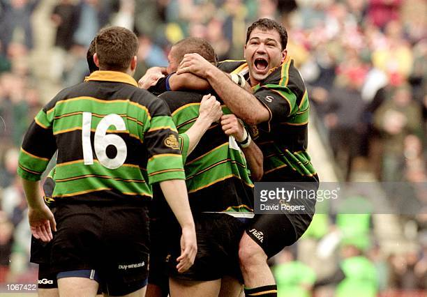 Frederico Mendez of Northampton celebrates after the Heineken Cup Final against Munster at Twickenham in England. Northampton won the match 9-8. \...