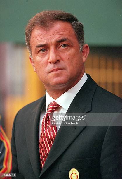 Galatasaray Coach Fatih Terim during the UEFA Cup Final against Arsenal at the Parken Stadium in Copenhagen Denmark The game ended 0 0 after extra...