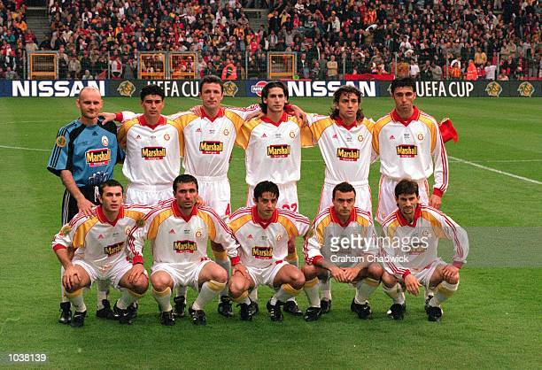 Galatasaray team lineup before the UEFA Cup Final against Arsenal at the Parken Stadium in Copenhagen Denmark The match ended in 00 draw after extra...