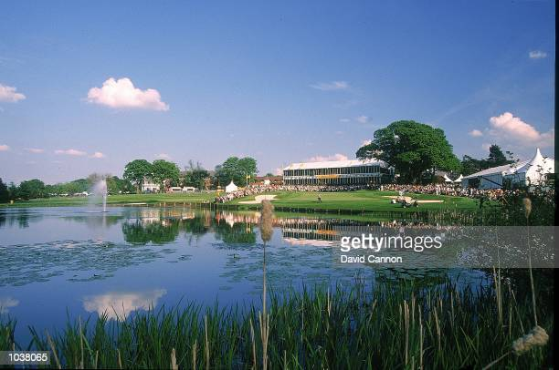 General view of 18th Green during the Benson & Hedges International Open played on the Brabazon Course at the Belfry Golf Club, in Birmingham,...