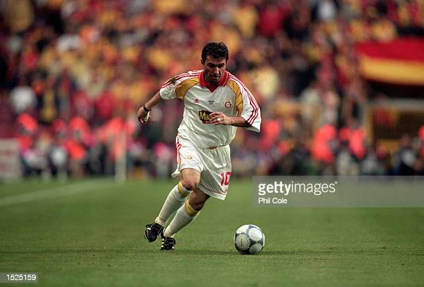 Gheorghe Hagi of Galatasaray in action during the UEFA Cup final against Arsenal at the Parken Stadium in Copenhagen, Denmark. The match finished 0-0...