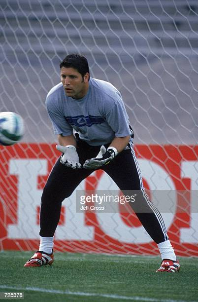 Goalie Tony Meola of the Kansas City Wizards in action during the game against the Los Angeles Galaxy at the Rose Bowl in Pasadena, California. The...
